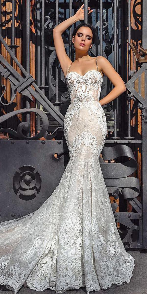 mermaid wedding dresses sweetheart with spaghetti straps lace crystal design