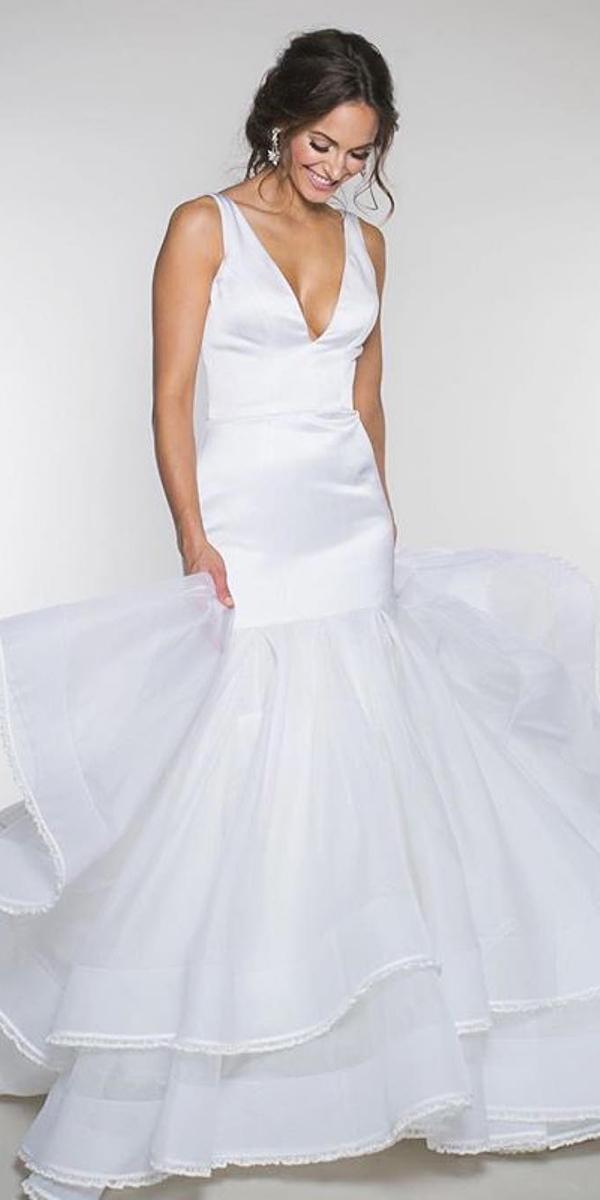 mermaid wedding dresses v neckline ruffled skirt simple heidi elnora