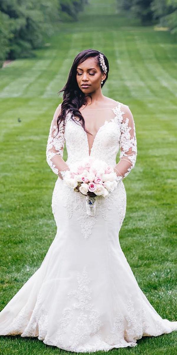 mermaid wedding dresses with long sleeves plunging neckline demetrios bride