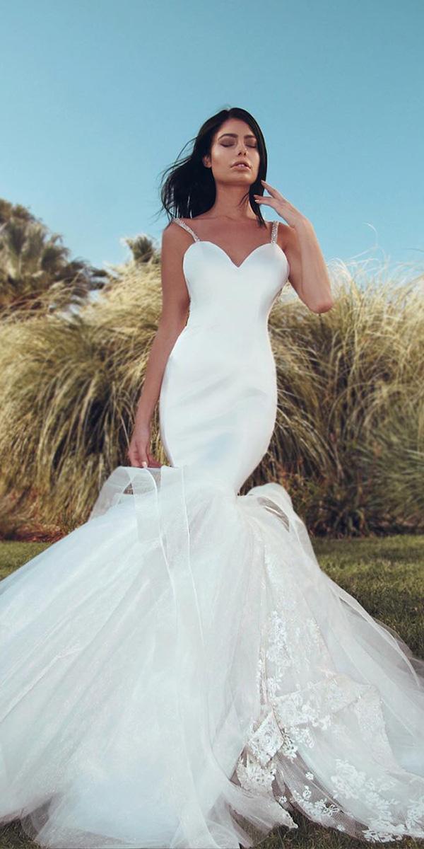 mermaid wedding dresses with spaghetti straps simple laurene laine