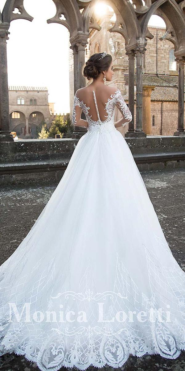 monica loretti wedding dresses a line illusion back with long sleeves buttons