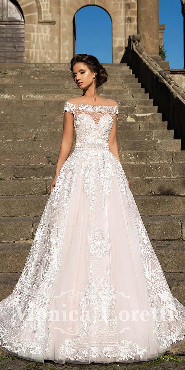 monica wedding dresses a line off the shoulder full lace
