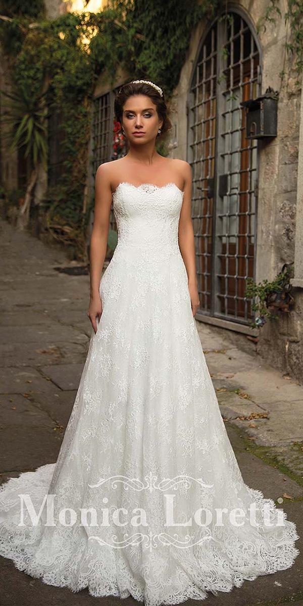 monica loretti wedding dresses a line strapless delicate lace beach boho