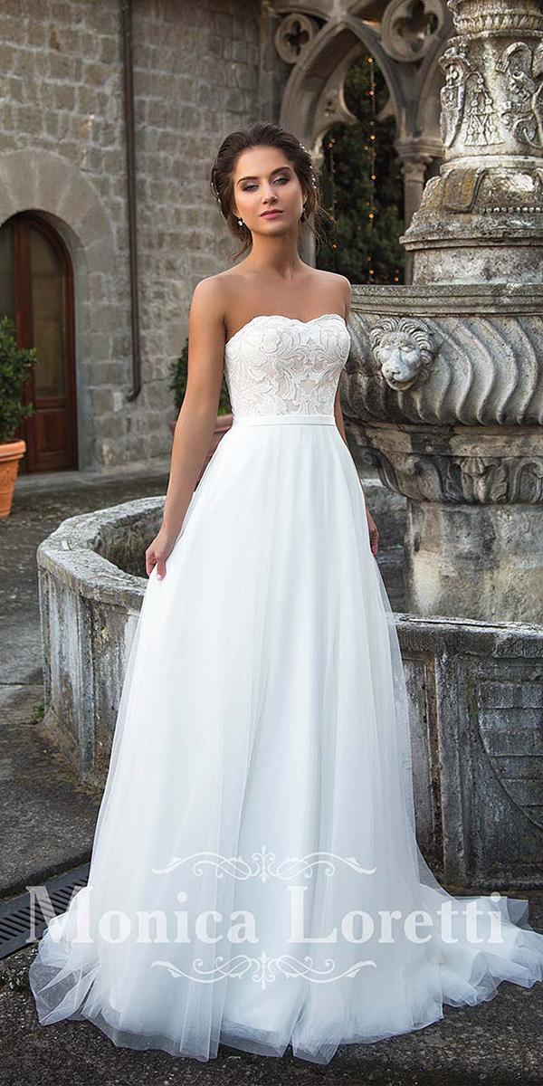 monica loretti wedding dresses a line strapless lace top chiffon skirt beach