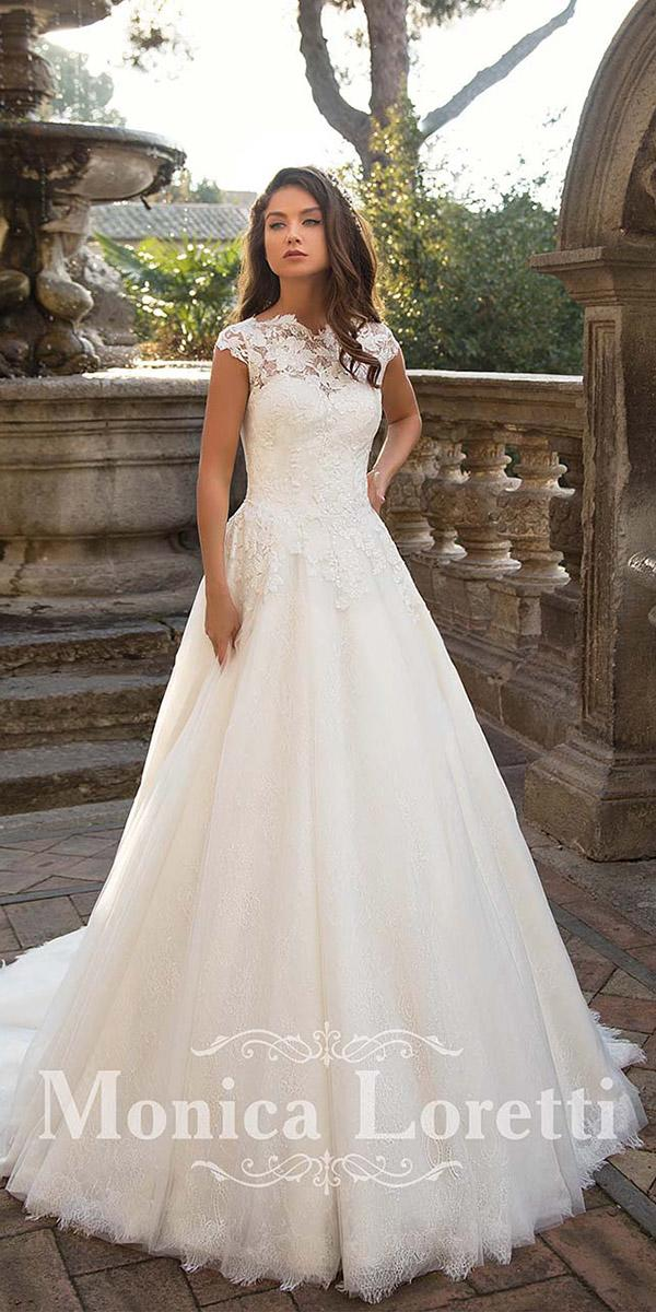 monica loretti wedding dresses a line with cap sleeves floral embroidered
