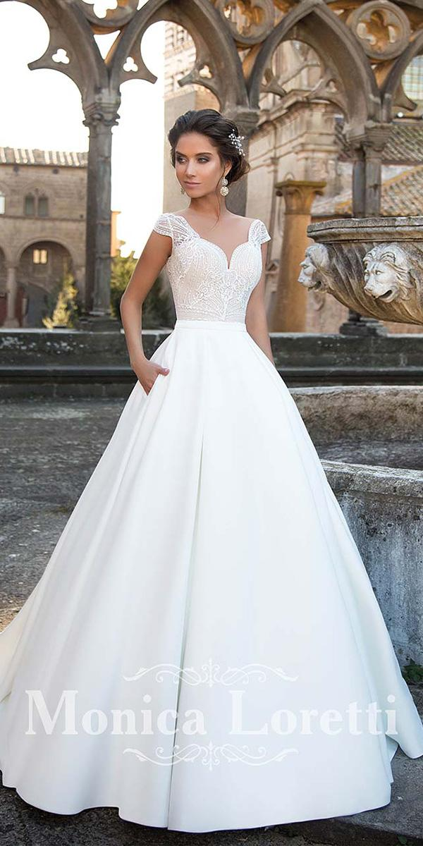 monica loretti wedding dresses a line with cap sleeves lace top romantic