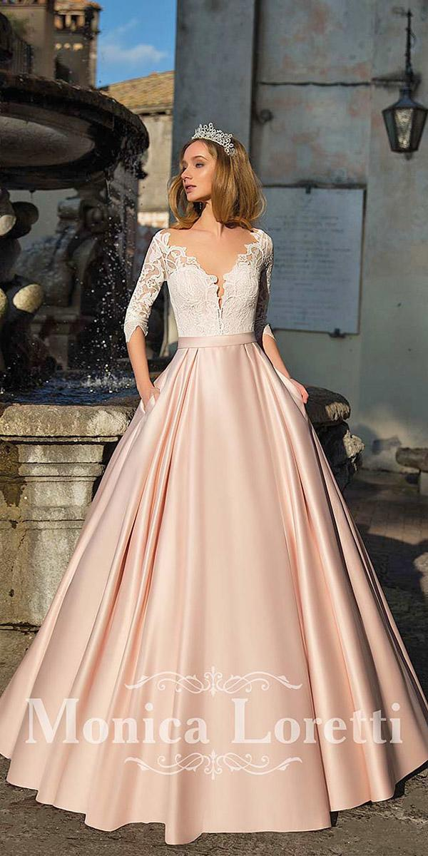 monica loretti wedding dresses a line with sleeves v neckline skirt colored
