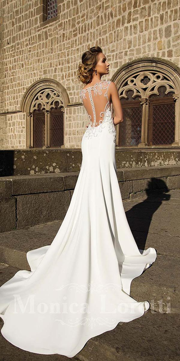 monica loretti wedding dresses illusion back with buttons