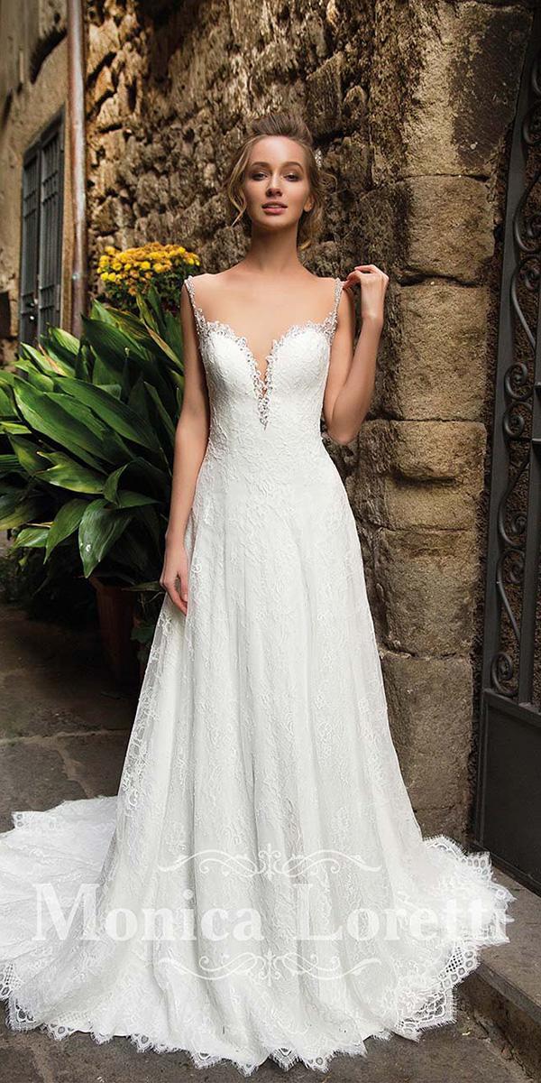 monica loretti wedding dresses llusion neckline sweetheart lace sexy beach