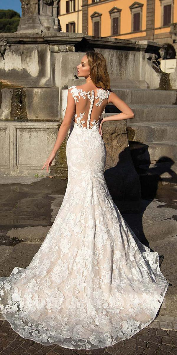monica loretti wedding dresses mermaid illuson back tattoo effect with buttons