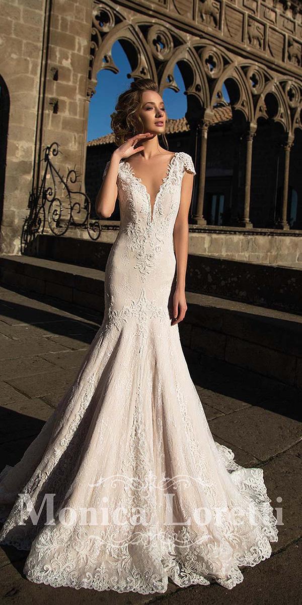 monica loretti wedding dresses mermaid with cap sleeves deep v neckline