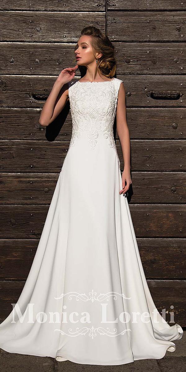 monica loretti wedding dresses sheath batequa neck vintage