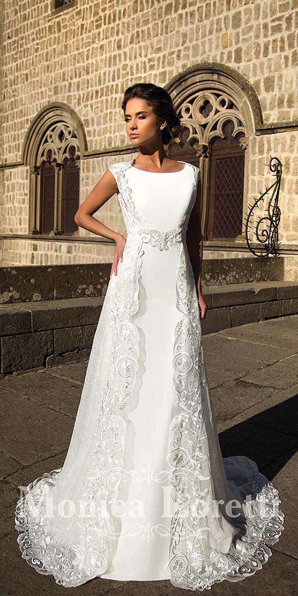 monica loretti wedding dresses romantic sheath batequa neckline with lace capes