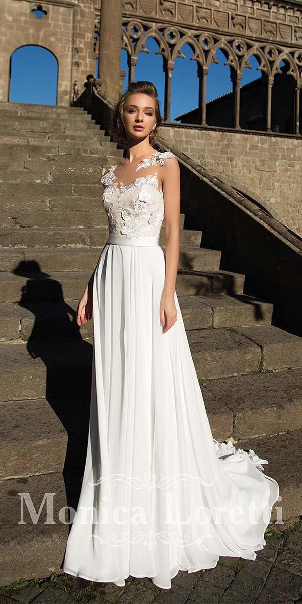 monica loretti wedding dresses sheath illuson neckline with 3d floral