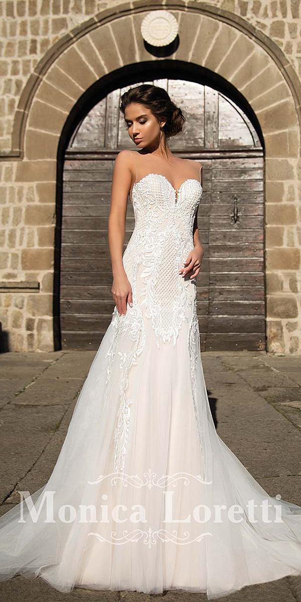 monica loretti wedding dresses sheath sweetheart with illuson neckline full lace