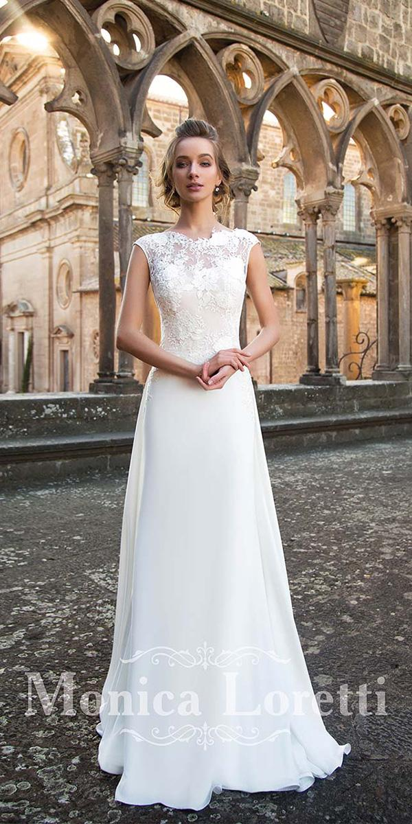 monica loretti wedding dresses sheath with cap sleeves floral appliques romantic