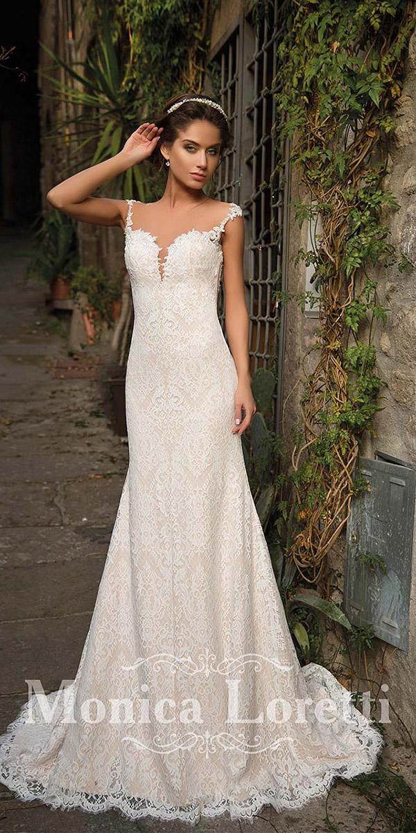 monica loretti wedding dresses sheath with illusion neckline full delicate lace
