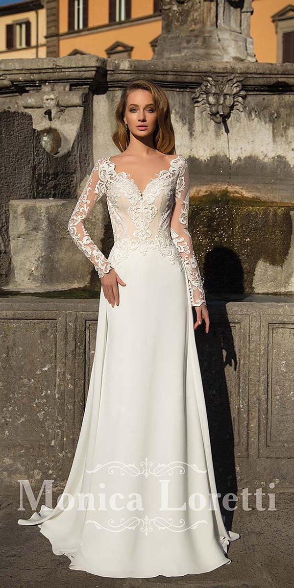 monica loretti wedding dresses sheath with long sleeves lace top