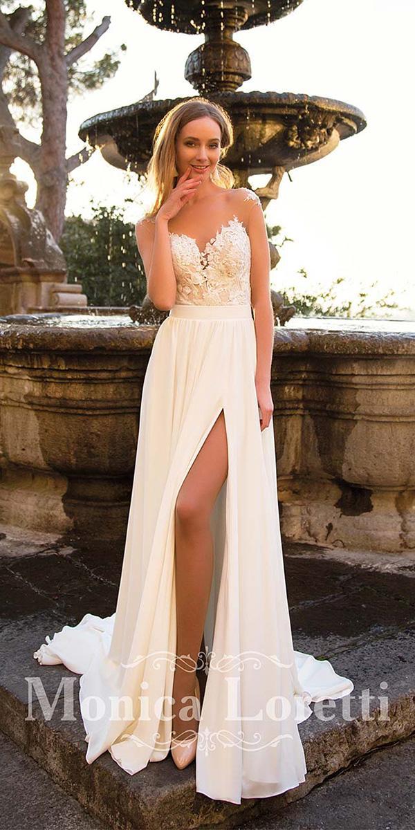 monica loretti wedding dresses sweetheart llusion neckline with slit beach