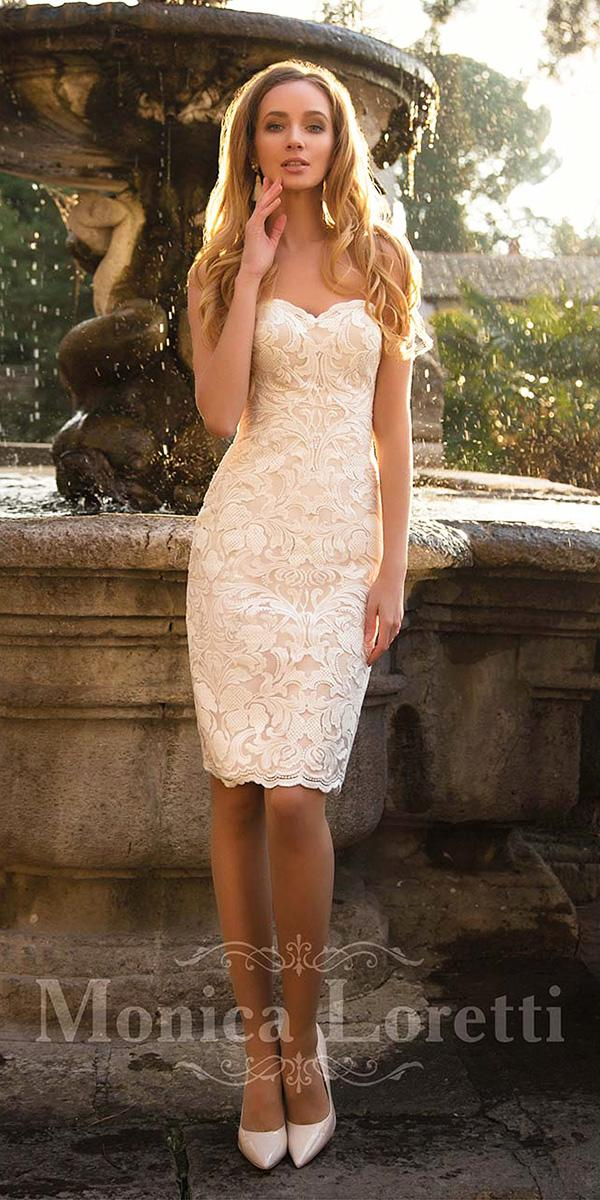 monica loretti wedding dresses tea length sweetheart strapless full lace ivory sexy