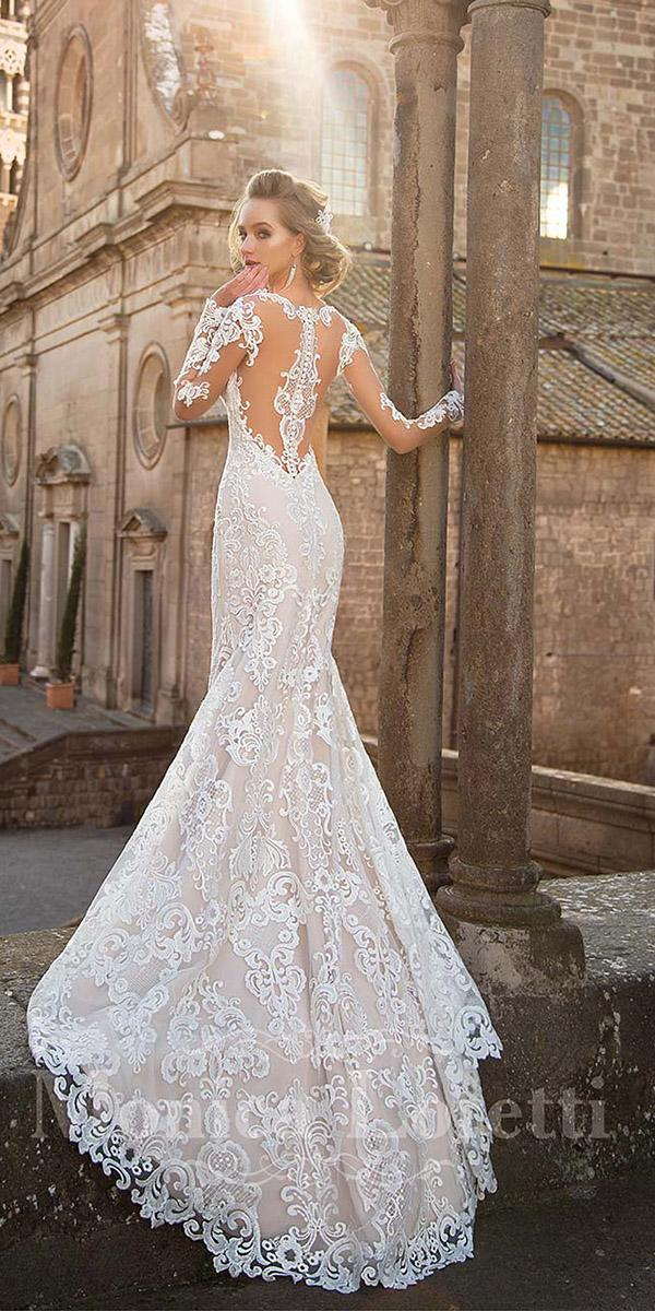 monica loretti wedding dresses with long sleeves tattoo effect back