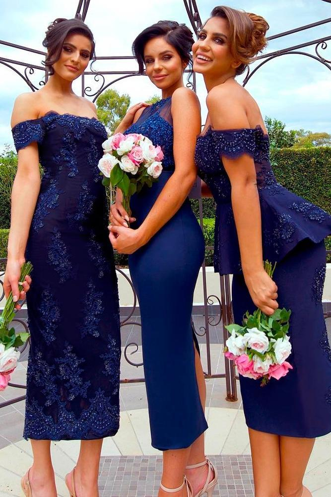 navy blue bridesmaid dresses mid length off the shoulder doll house bridesmaids
