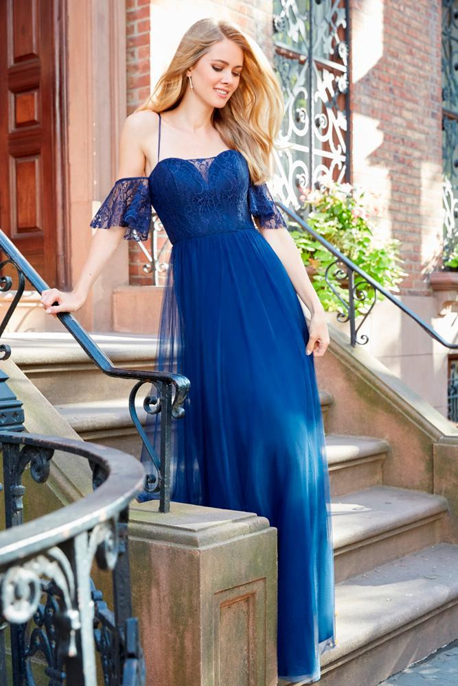 navy blue bridesmaid dresses straight sweetheart neckline long hayley paige occasions