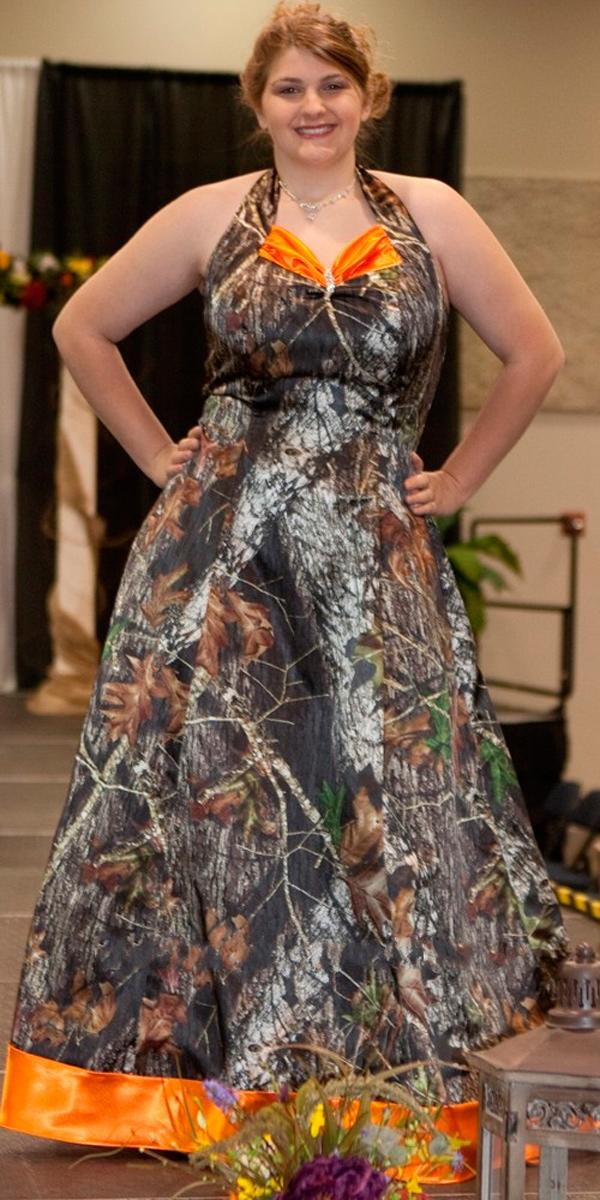 plus size camouflage dresses a line with orange camo formal