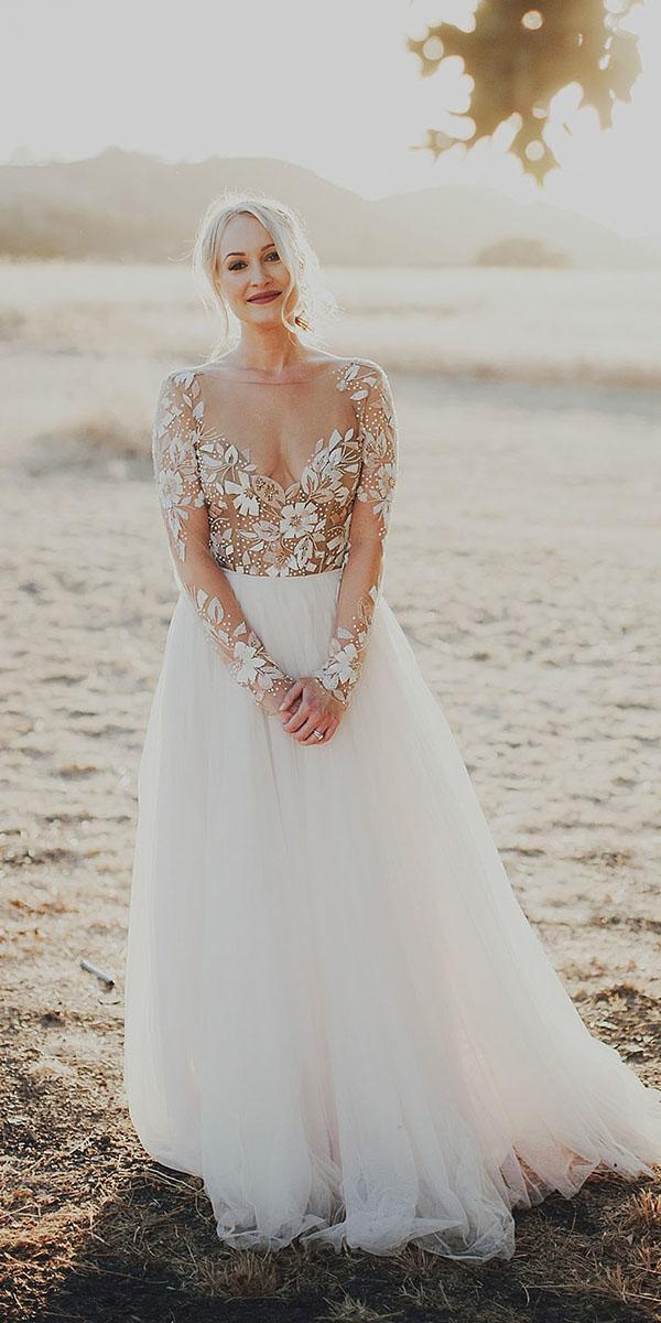 rustic lace wedding dresses a line illusion neckline nude floral hayley paige
