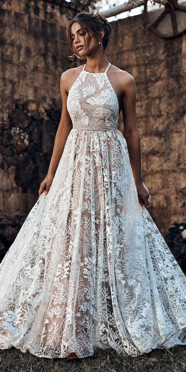 rustic lace wedding dresses country halter neckline lace grace love lace