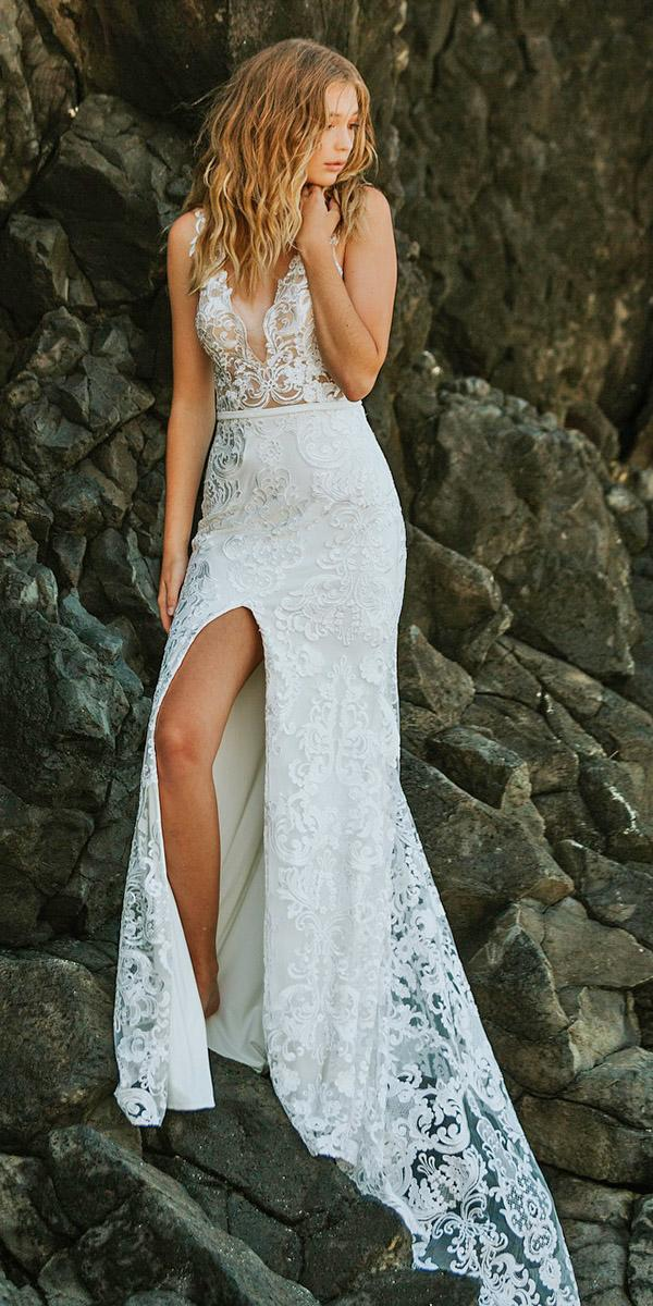rustic lace wedding dresses country sheath deep v neckline goddess by nature