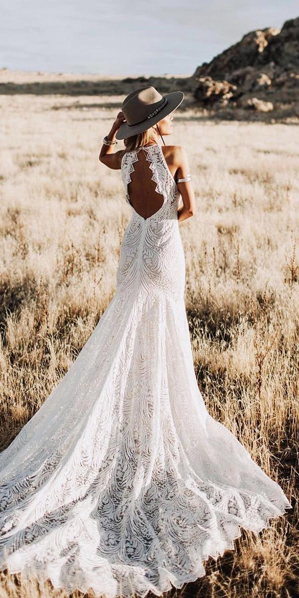 rustic lace wedding dresses open back boho with sleeves lovers society