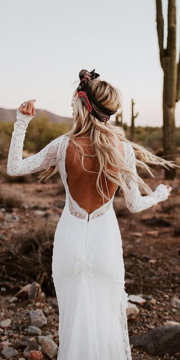 rustic lace wedding dresses sheath with long sleeves open back lovers society