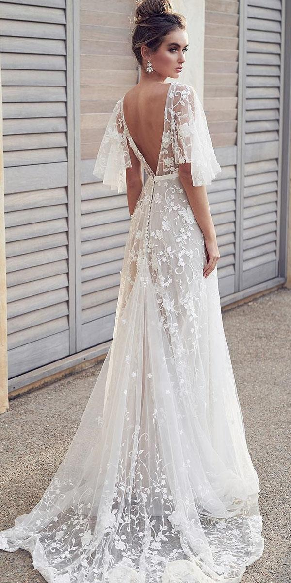rustic lace wedding dresses sheath with sleeves open back anna campbell bridal