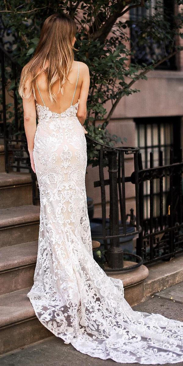 rustic-lace wedding dresses sheath with straps low back vintage goddess by nature