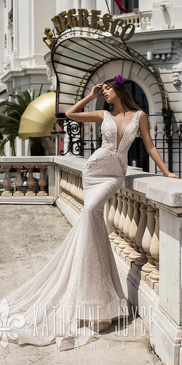 sheath plunging neckline sexy champagne katherine joyce wedding dresses 2018