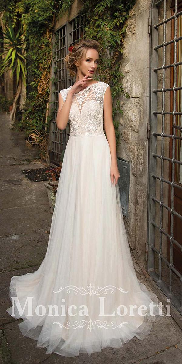 sheath with cap sleeves vintage top monica loretti wedding dresses
