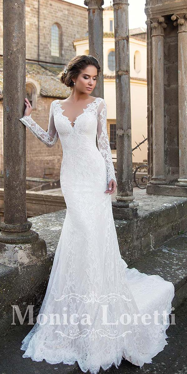 sheath with long sleeves v neckline full lace sexy monica loretti wedding dresses