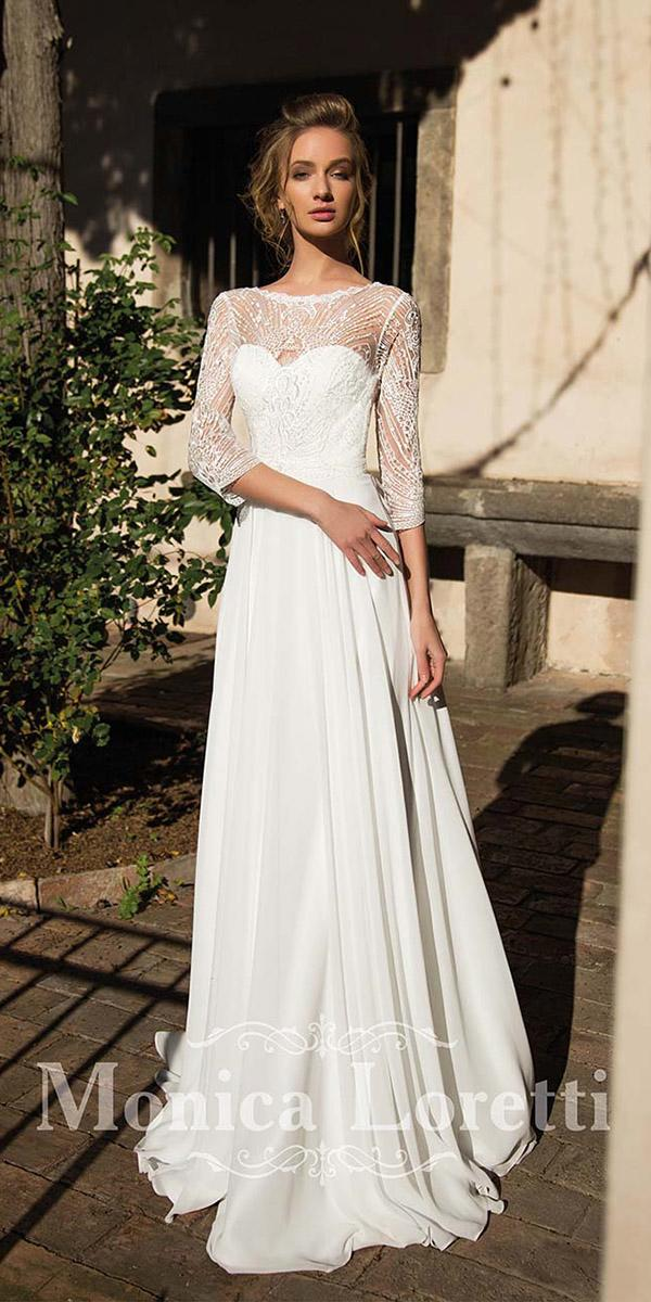 sheath with three quote sleeves sweetheart monica loretti wedding dresses