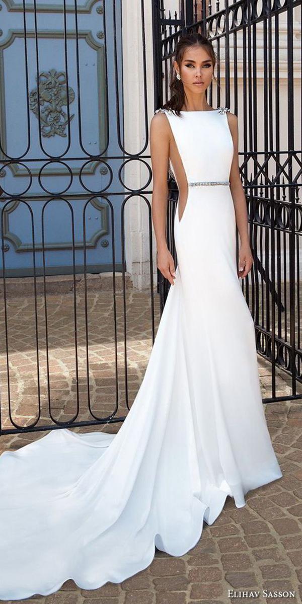 simple elihav sasson wedding dresses 2018 sheath beaded belt simple elegant