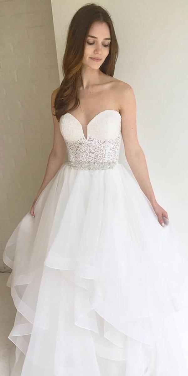 strapless wedding dresses a line sweetheart ruffled skirt mikaella bridal