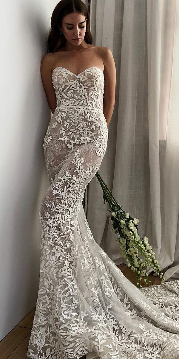 strapless wedding dresses sheath for beach floral lee grebenau