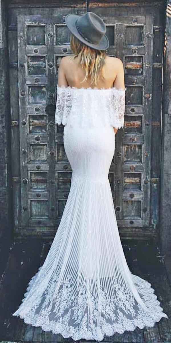 trendy wedding dresses 2018 mermaid straight neckline boho lace emmy made