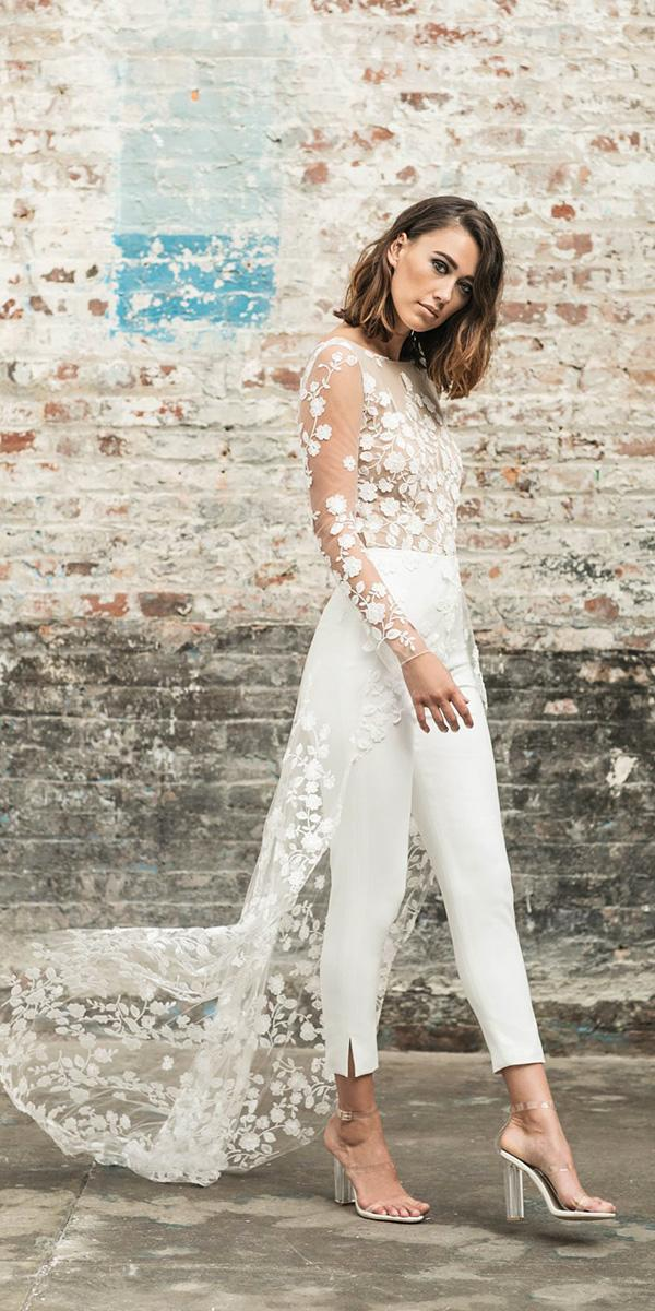 trendy wedding dresses 2018 pantsuit floral top train with slleves rime arodaky