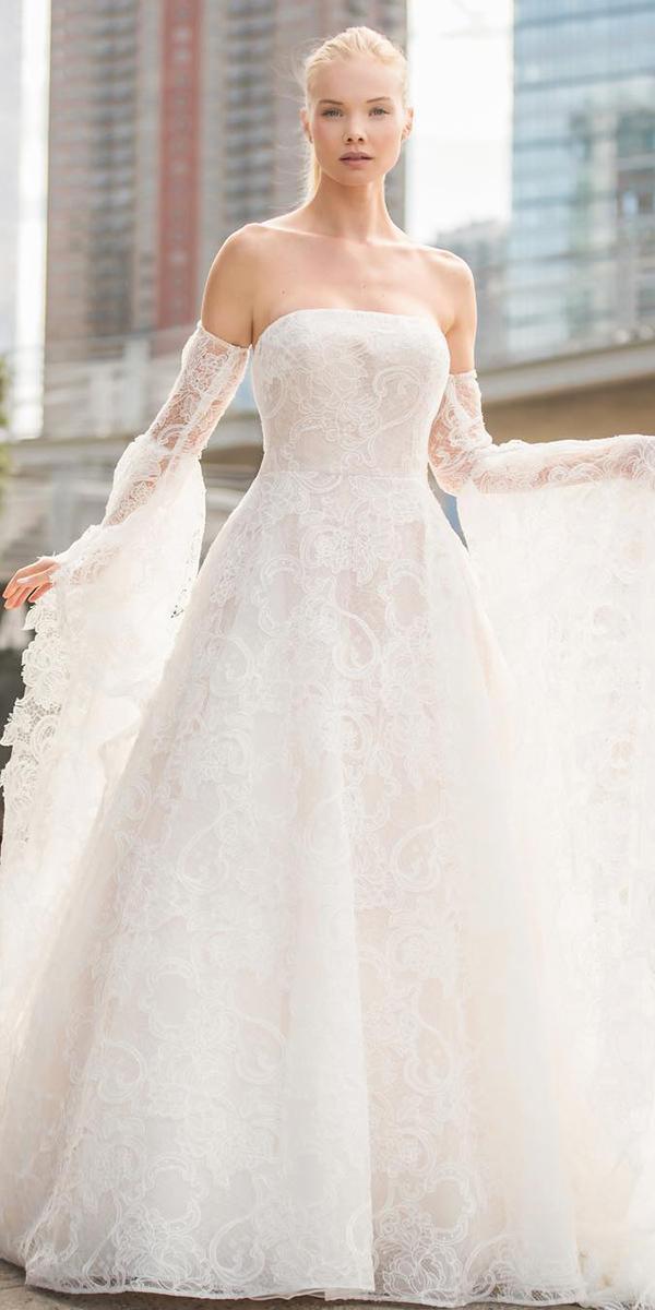 trendy wedding dresses a line detached sleeves straight across mark zunino