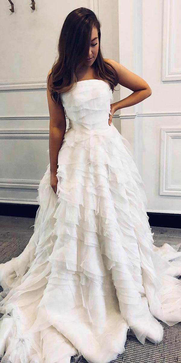 trendy wedding dresses a line straight neckline ruffled skirt one day bridal