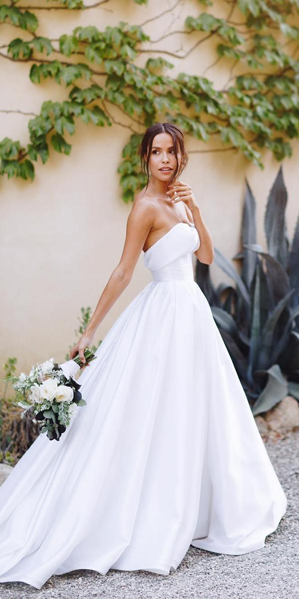 trendy wedding dresses a line strapless simple lovella bridal