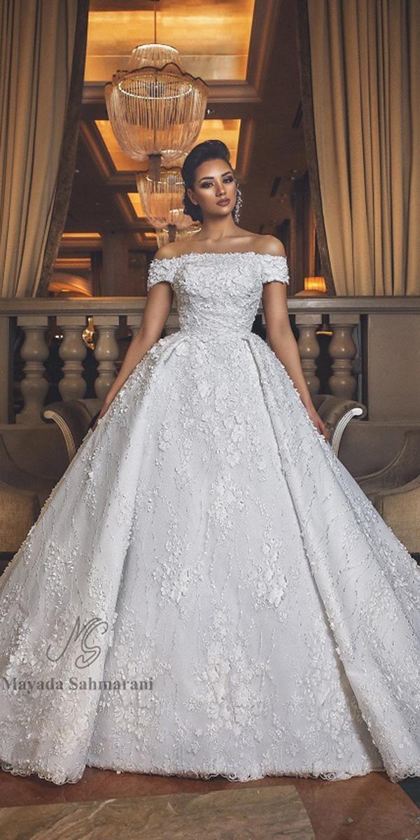 trendy wedding dresses ball gown straight neckline off the shoulder mayada sahmaranihaute couture