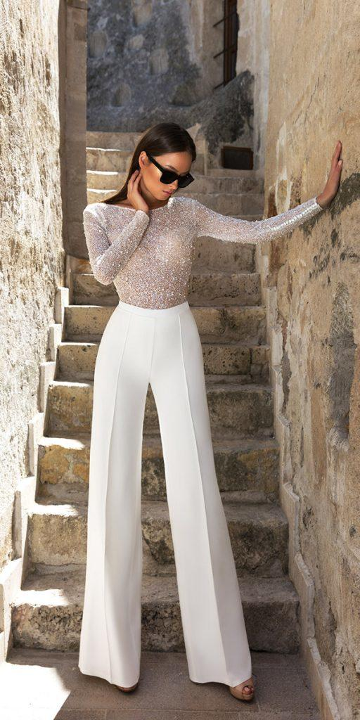trendy wedding dresses fall 2018 with long sleeves modern eva lender