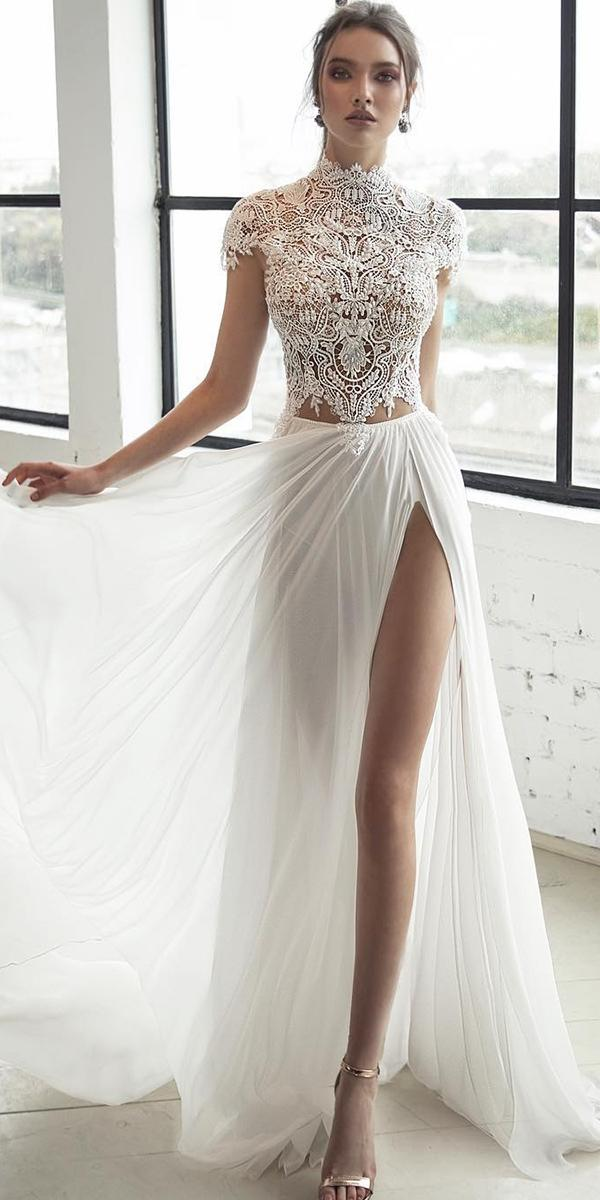 trendy wedding dresses high neckline with cap sleeves lace julia vino